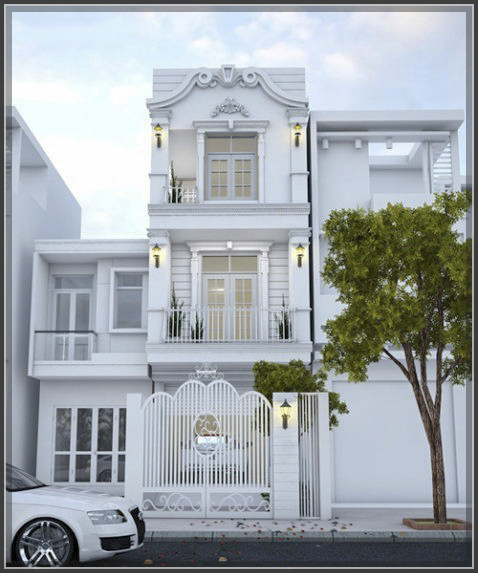 Xao xuyến thiết kế nhà phố cổ điển 3 tầng đẹp đến nao lòng - 1