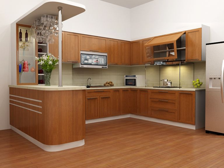 Thiết kế phòng bếp kết hợp quầy bar mini tiện lợi và độc đáo - 01