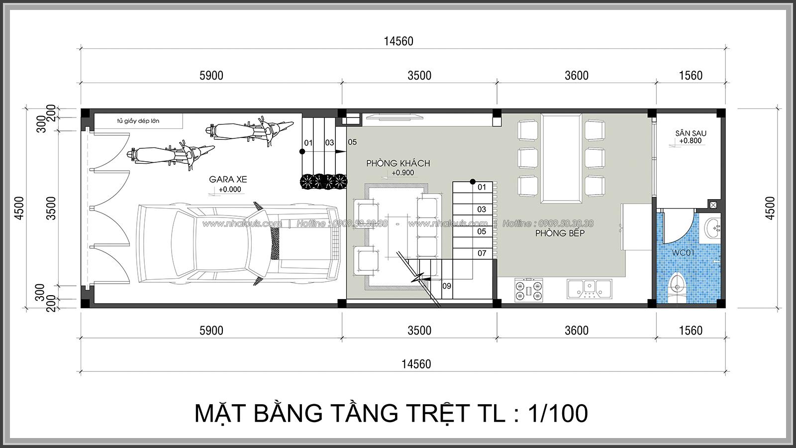 Thiết kế nhà lệch tầng hiện đại mặt tiền 4.5m x 14.5m tại quận Tân Bình - 03