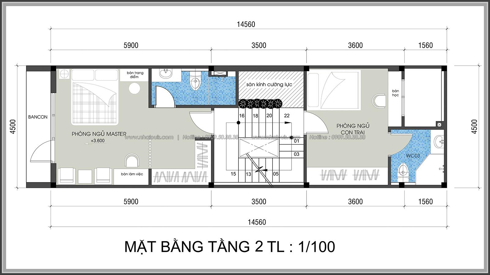Thiết kế nhà lệch tầng hiện đại mặt tiền 4.5m x 14.5m tại quận Tân Bình - 11