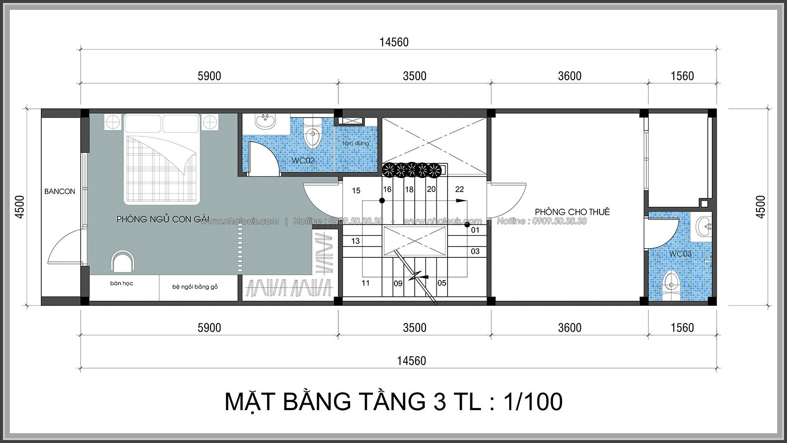 Thiết kế nhà lệch tầng hiện đại mặt tiền 4.5m x 14.5m tại quận Tân Bình - 25