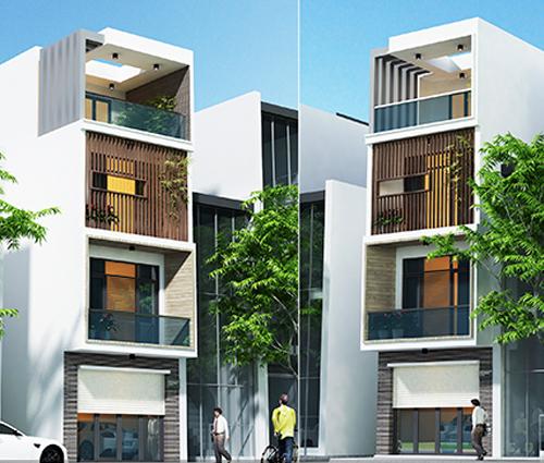 Thiết kế nhà lệch tầng hiện đại mặt tiền 4.5m x 14.5m tại quận Tân Bình