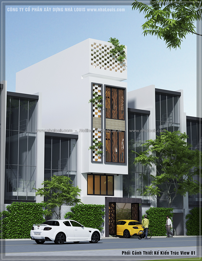 Thiết kế nhà phố hiện đại 4m x 13m tại Quận 7 với mảng xanh tươi mát - 01