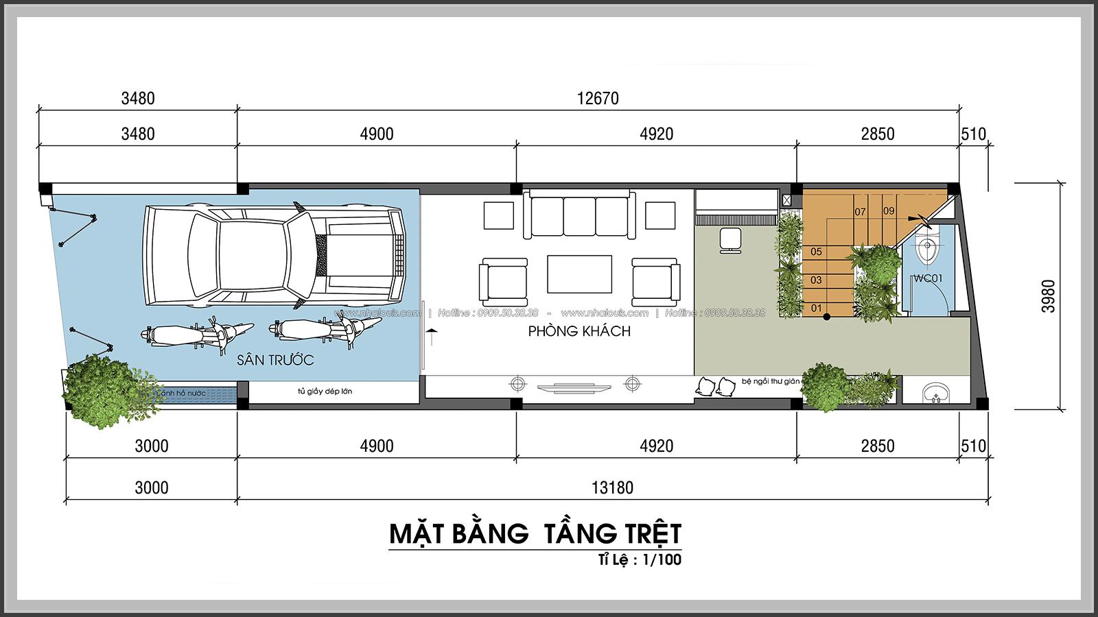 Thiết kế nhà phố hiện đại 4m x 13m tại Quận 7 với mảng xanh tươi mát - 04