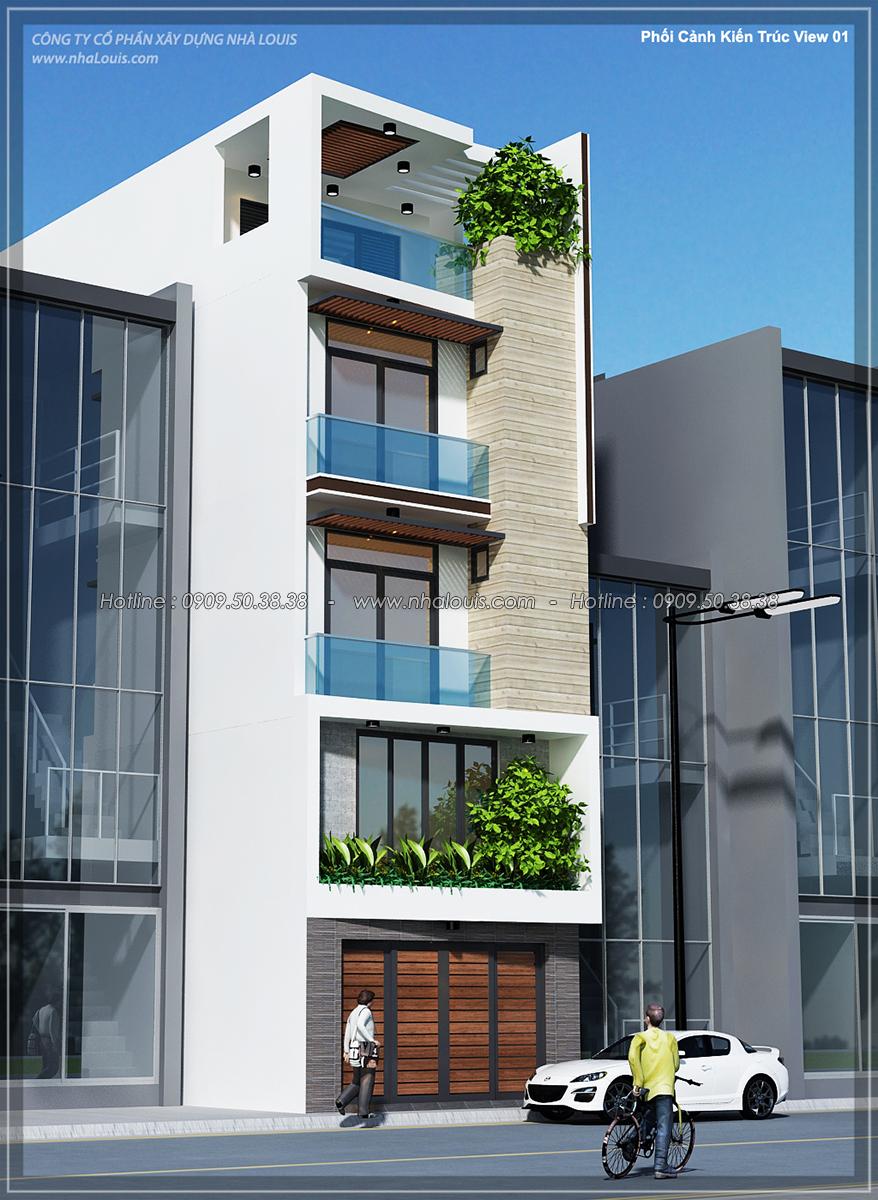 Thiết kế nhà ống 4 tầng lộng lẫy với mặt tiền 5m và gara ô tô tại Tân Bình - 01