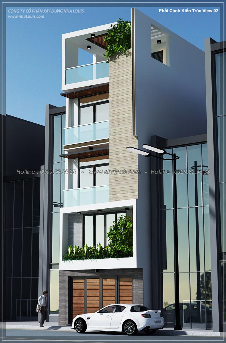 Thiết kế nhà ống 4 tầng lộng lẫy với mặt tiền 5m và gara ô tô tại Tân Bình - 02