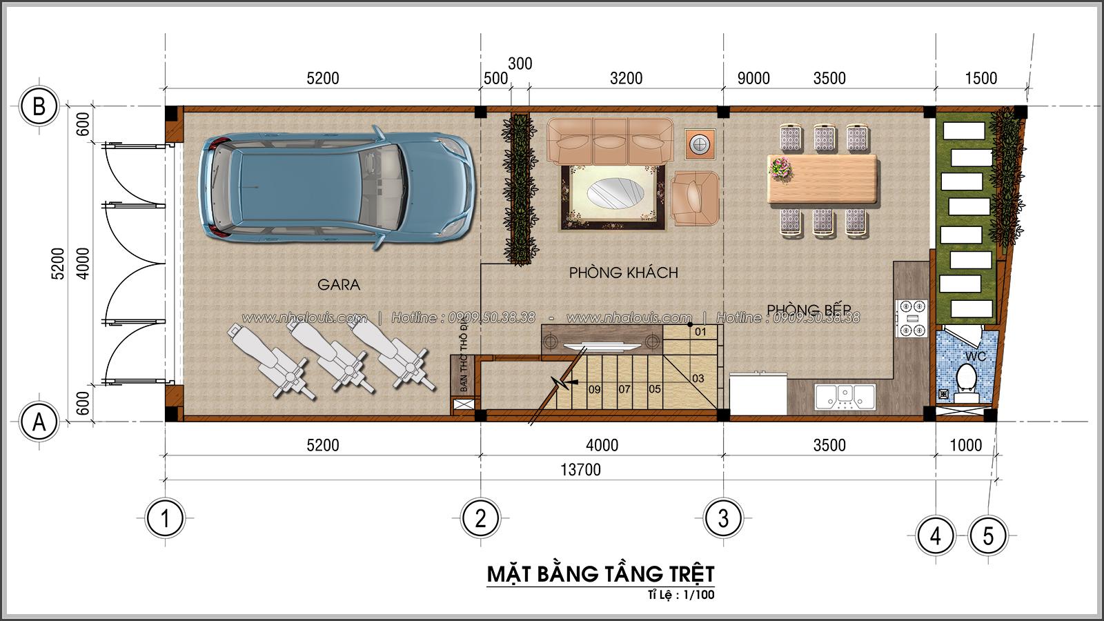 Thiết kế nhà ống 4 tầng lộng lẫy với mặt tiền 5m và gara ô tô tại Tân Bình - 03