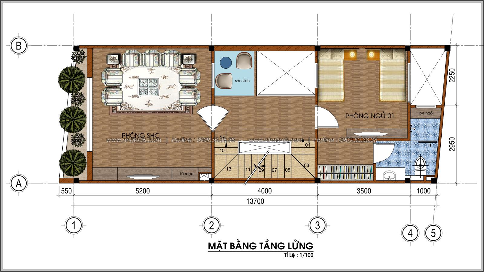 Thiết kế nhà ống 4 tầng lộng lẫ với mặt tiền 5m và gara ô tô tại Tân Bình - 04
