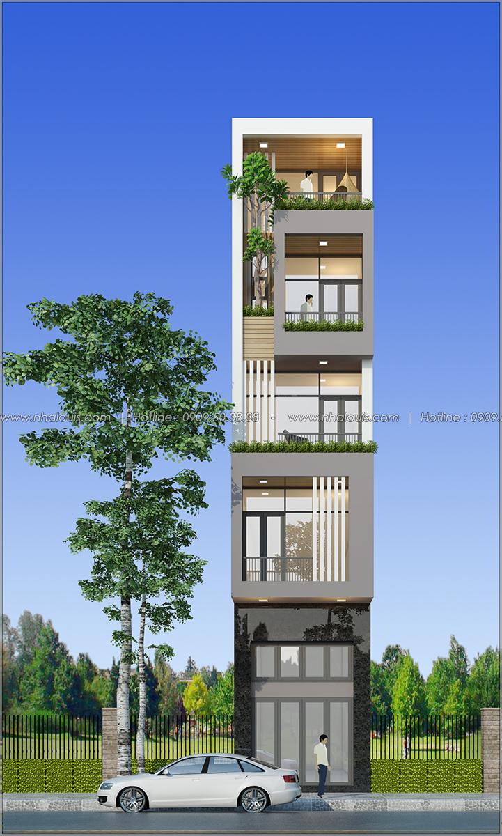 Thiết kế nhà ống 5 tầng mặt tiền 4m tại quận 8 đẹp hiện đại - 01