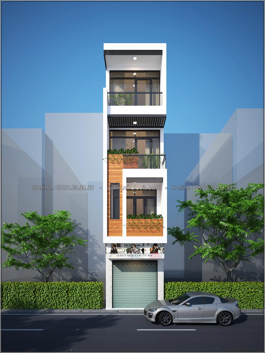 Thiết kế nhà phố 4 tầng mặt tiền 3.3m để kinh doanh tại Tân Bình - 01