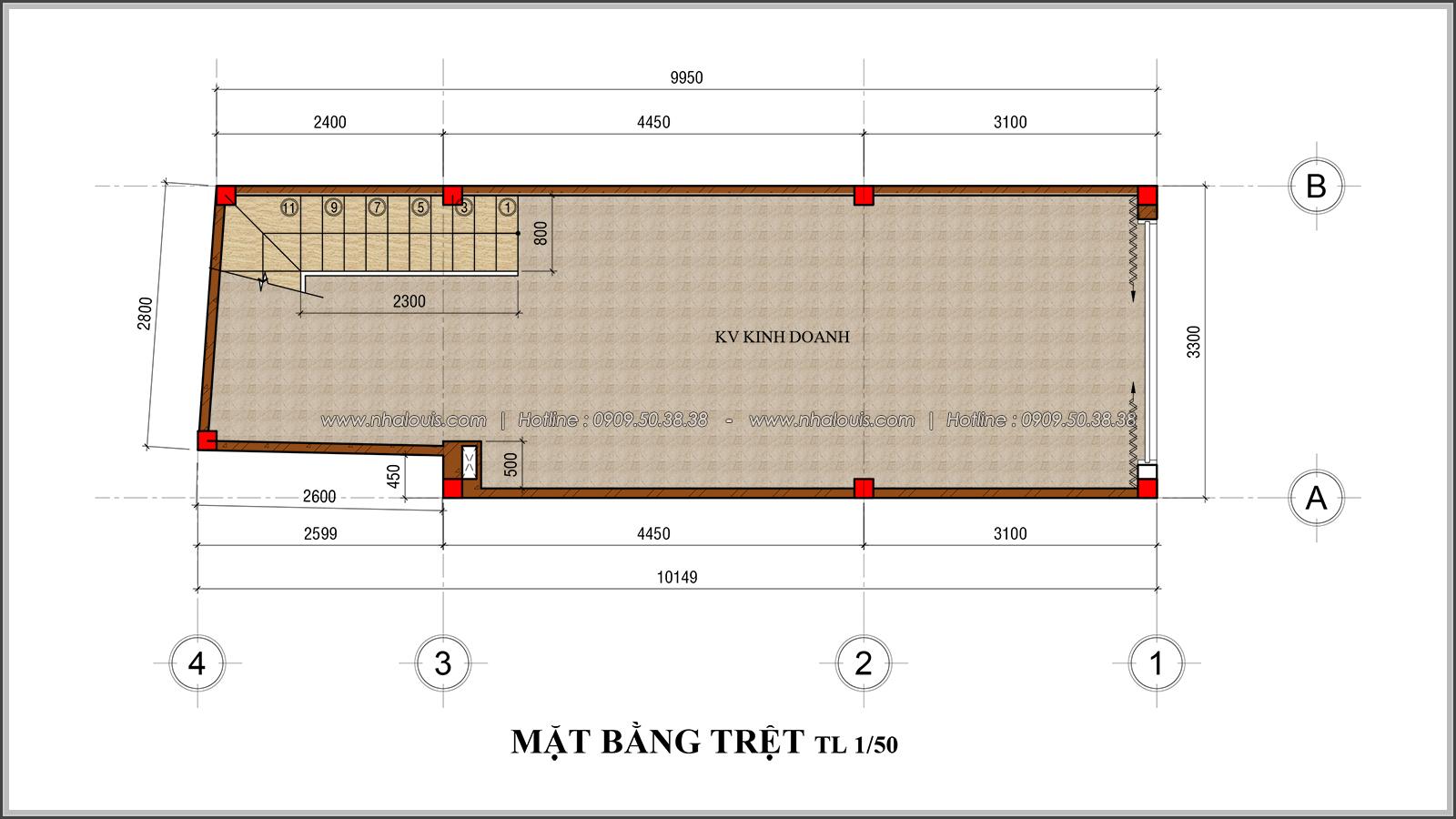 Thiết kế nhà phố 4 tầng mặt tiền 3.3m để kinh doanh tại Tân Bình - 04