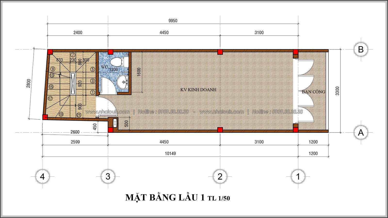 Thiết kế nhà phố 4 tầng mặt tiền 3.3m để kinh doanh tại Tân Bình - 05
