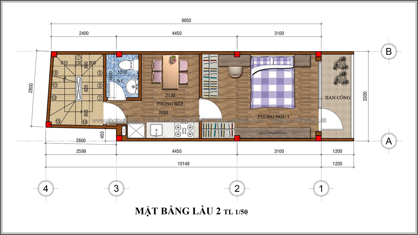 Thiết kế nhà phố 4 tầng mặt tiền 3.3m để kinh doanh tại Tân Bình - 06