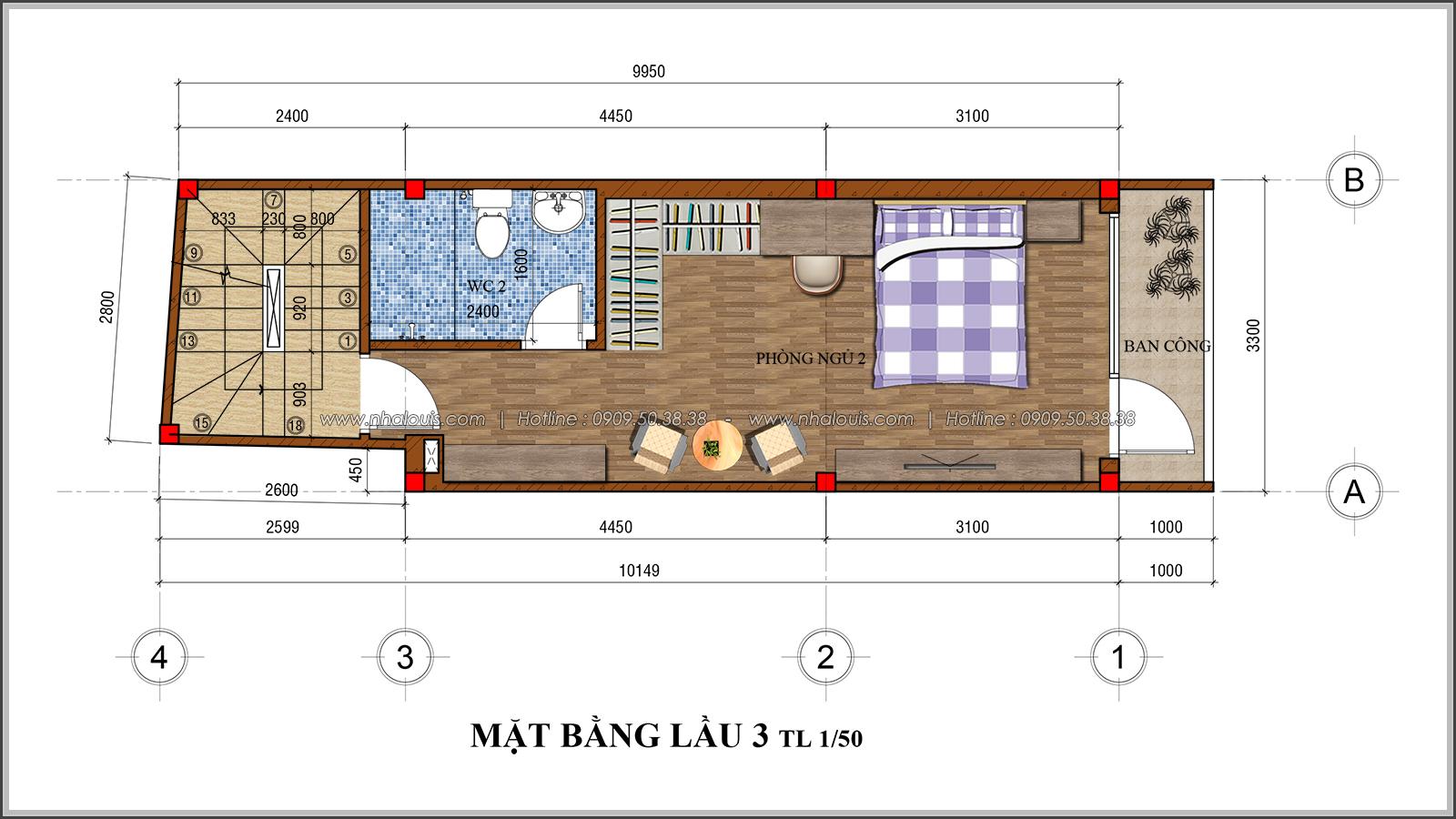 Thiết kế nhà phố 4 tầng mặt tiền 3.3m để kinh doanh tại Tân Bình - 07