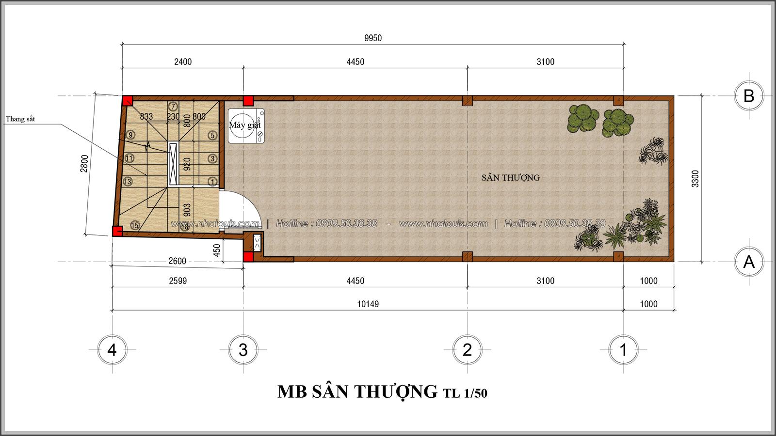 Thiết kế nhà phố 4 tầng mặt tiền 3.3m để kinh doanh tại Tân Bình - 08