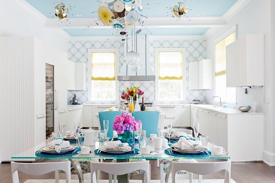 Cách phối màu xanh lam cho căn bếp hiện đại
