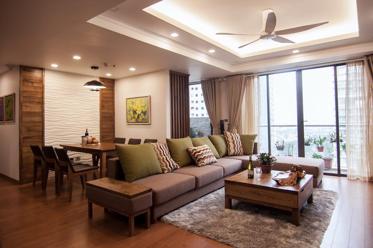 Căn hộ hiện đại có nội thất bằng gỗ sồi tuyệt đẹp
