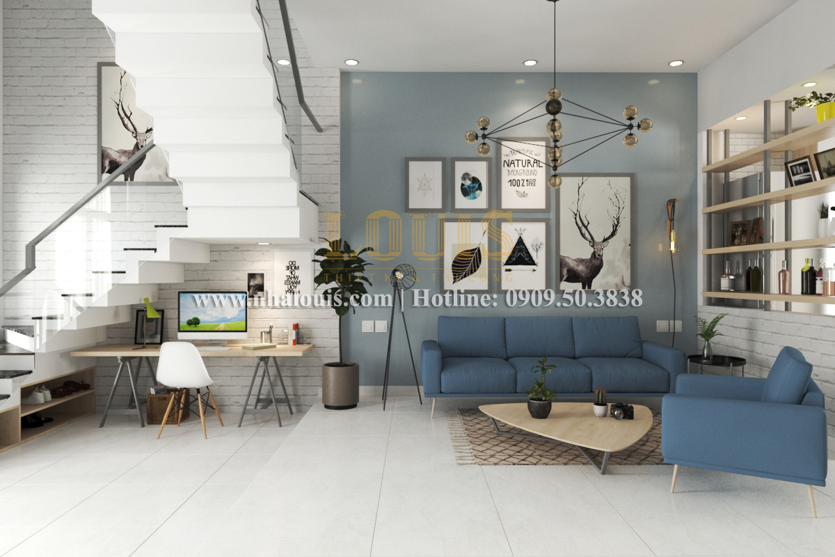 Phòng khách Mẫu nhà hiện đại 2 tầng phong cách phương Tây tại Bình Dương - 03
