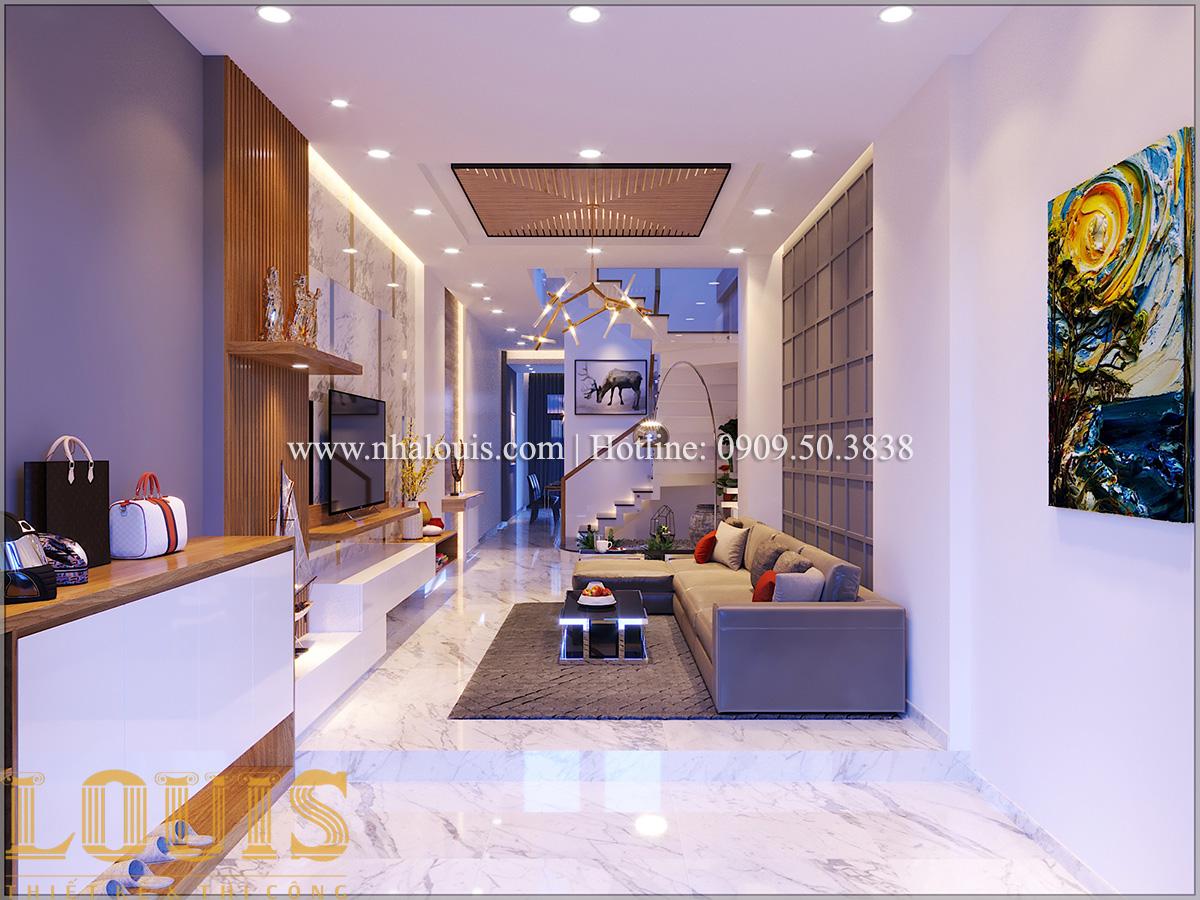 Phòng khách Mẫu nhà ống đẹp 3 tầng hiện đại cực chất tại Bến Tre - 06