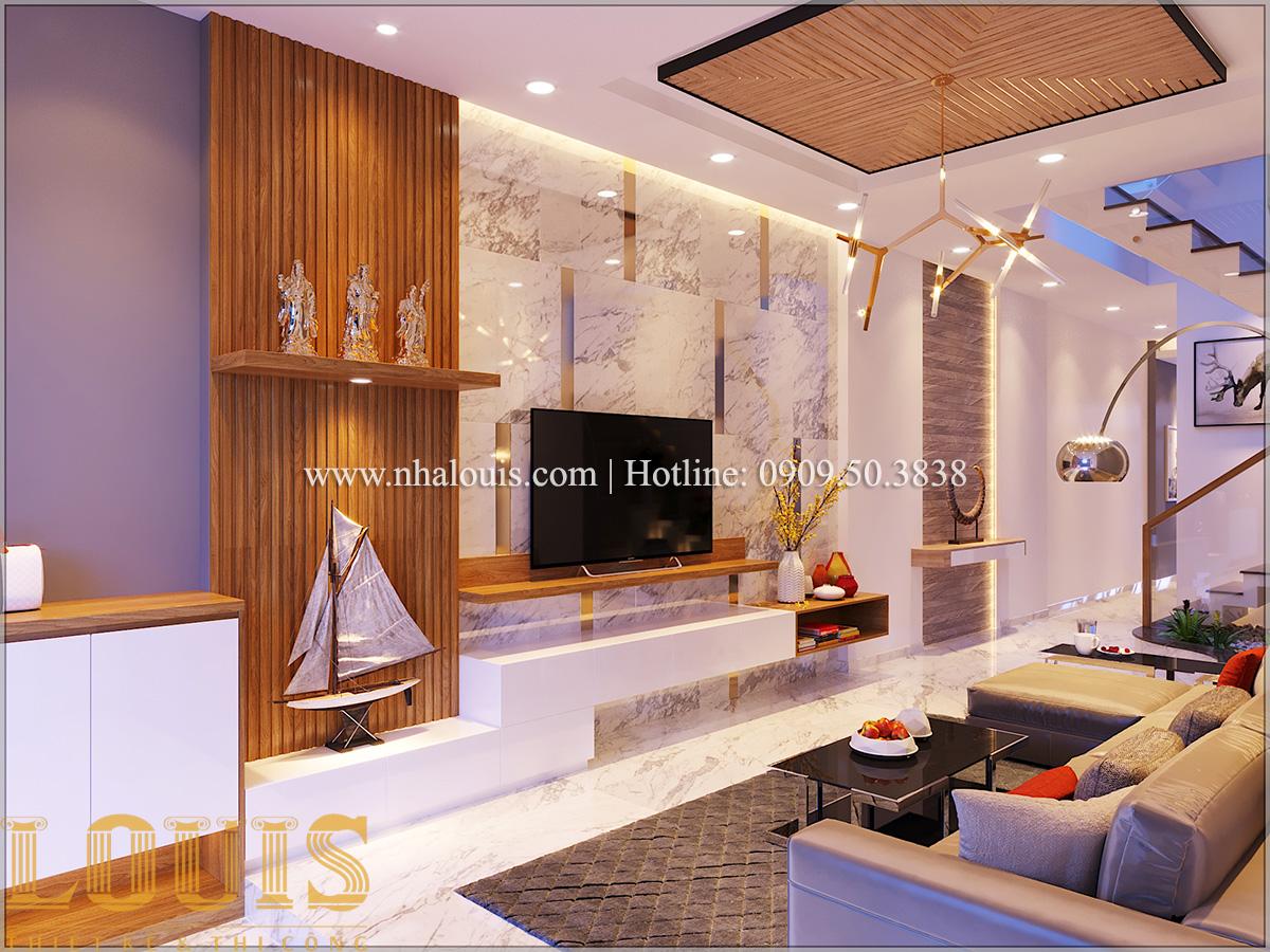 Phòng khách Mẫu nhà ống đẹp 3 tầng hiện đại cực chất tại Bến Tre - 10