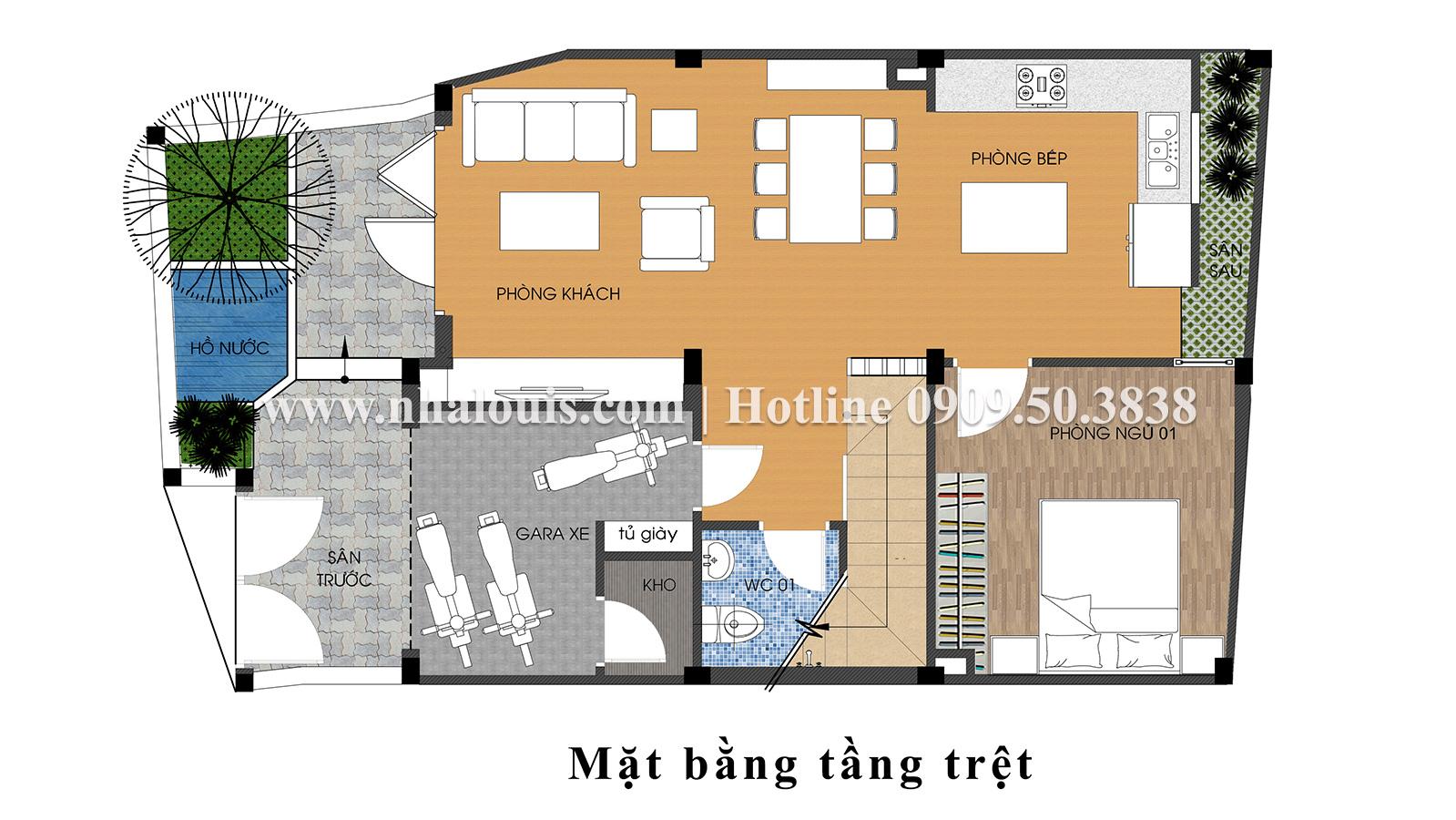 Mặt bằng tầng trệt Mẫu nhà ống tân cổ điển 4 tầng tại Gò Vấp đẹp sang chảnh - 03