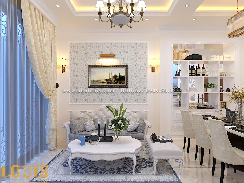 Phòng khách Mẫu nhà ống tân cổ điển 4 tầng tại Gò Vấp đẹp sang chảnh - 11