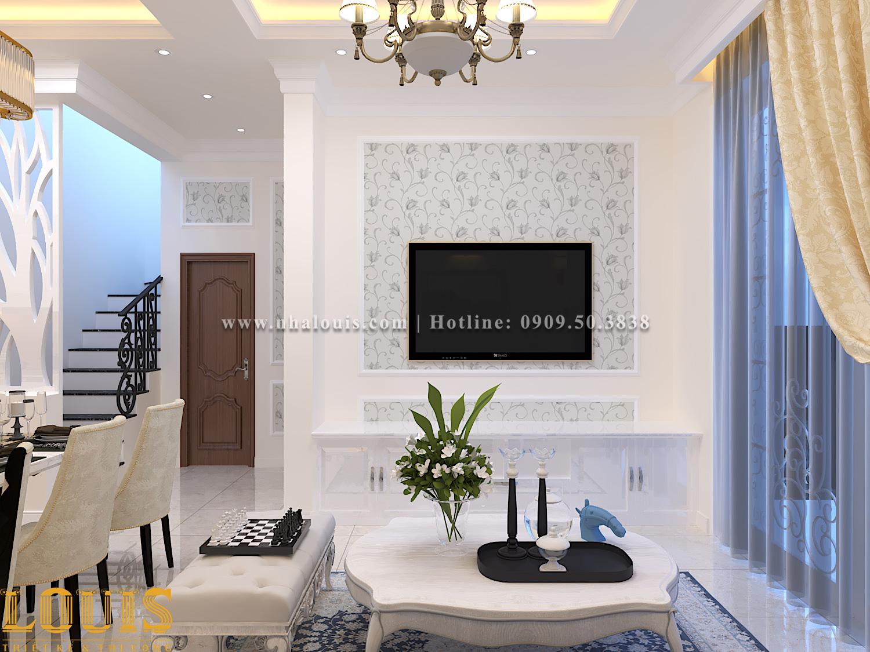 Phòng khách Mẫu nhà ống tân cổ điển 4 tầng tại Gò Vấp đẹp sang chảnh - 12