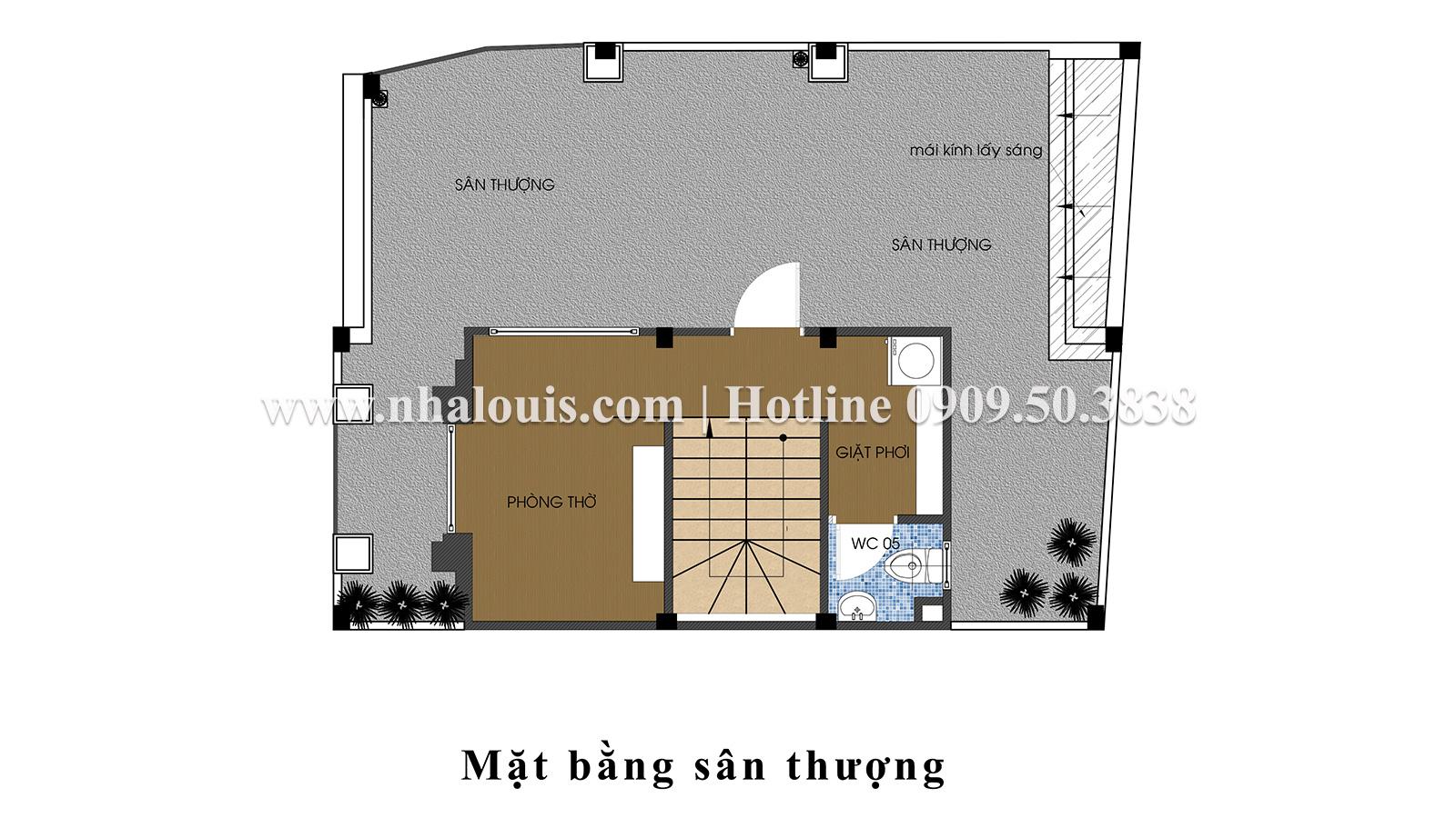 Mặt bằng tầng thượng Mẫu nhà ống tân cổ điển 4 tầng tại Gò Vấp đẹp sang chảnh - 56