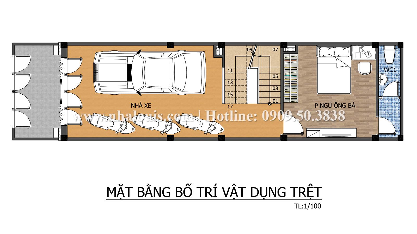 Mặt bằng tầng trệt Mẫu nhà ống tân cổ điển 4 tầng tại Quận 6 đẹp sang chảnh - 04