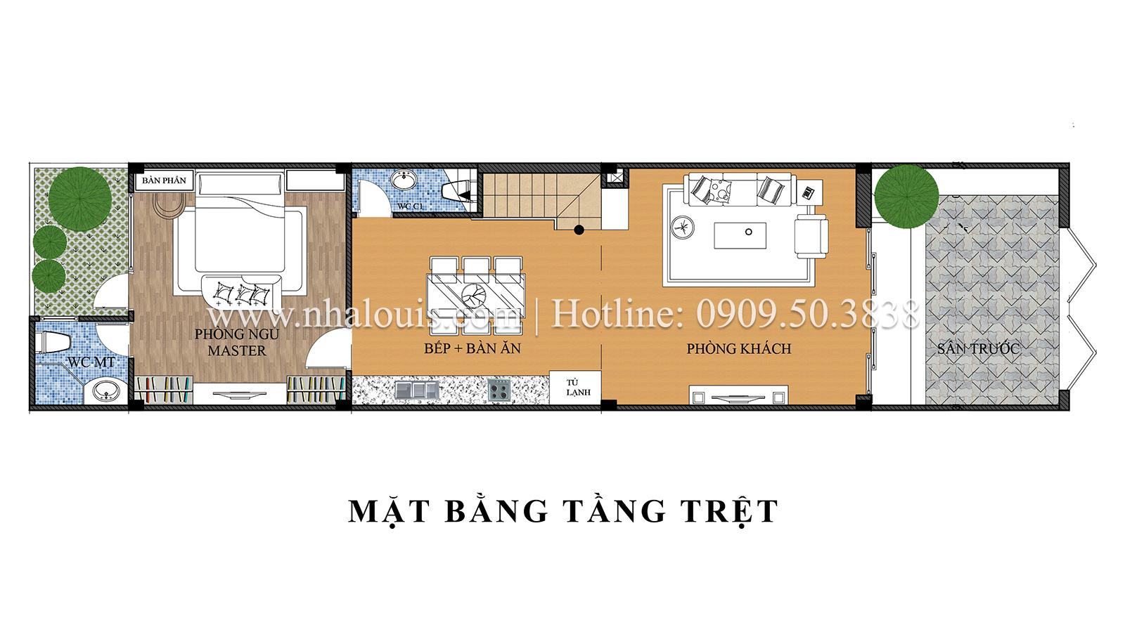 Mặt bằng tầng trệt Mẫu nhà ống 3 tầng đẹp tại Long An thiết kế theo xu hướng mới - 04