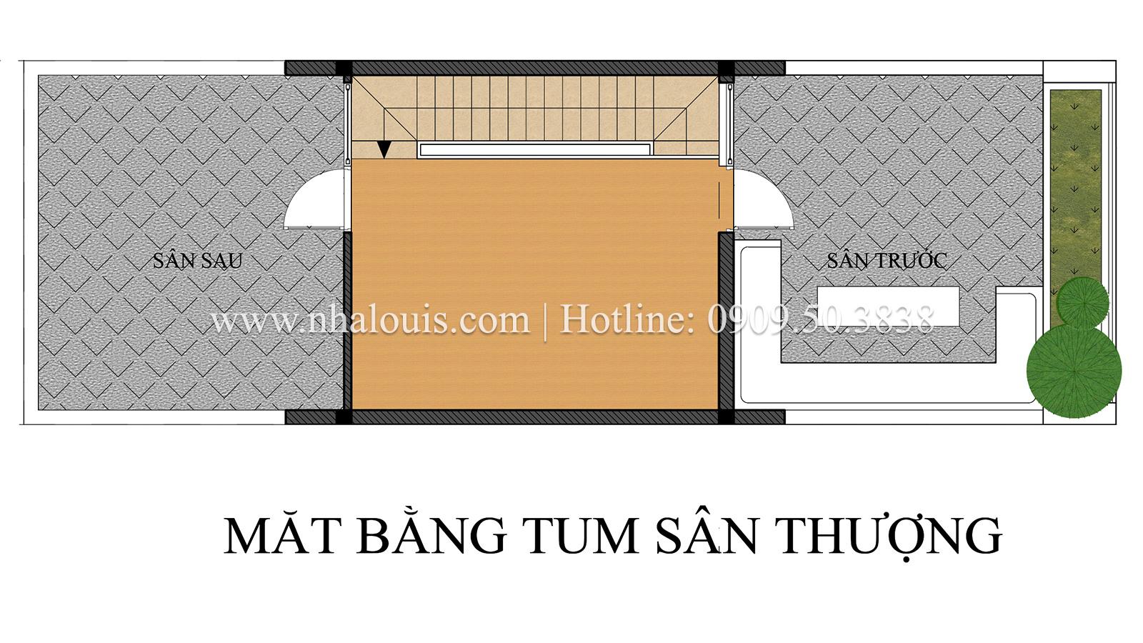 Mặt bằng tầng thượng Mẫu nhà ống 3 tầng đẹp tại Long An thiết kế theo xu hướng mới - 14