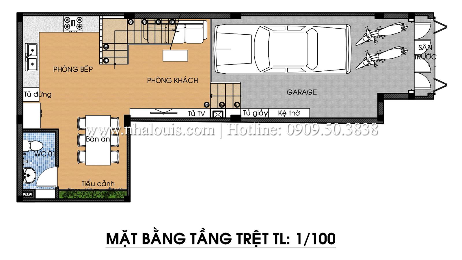 Mặt bằng tầng trệt Mẫu thiết kế nhà phố 5 tầng tại Tân Bình với không gian thiên nhiên xanh mát - 03