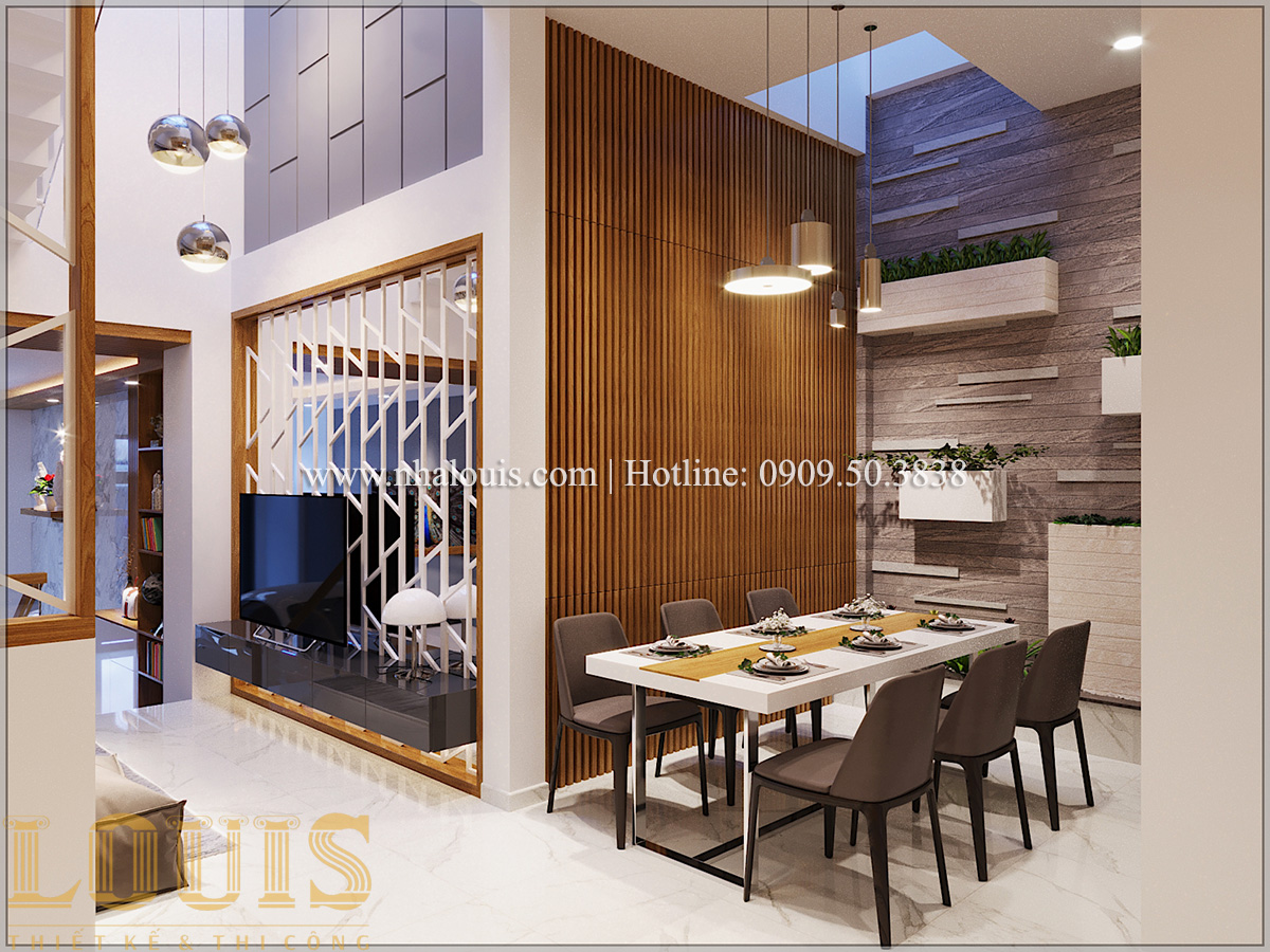 Bếp và phòng ăn Mẫu thiết kế nhà phố 5 tầng tại Tân Bình với không gian thiên nhiên xanh mát - 11