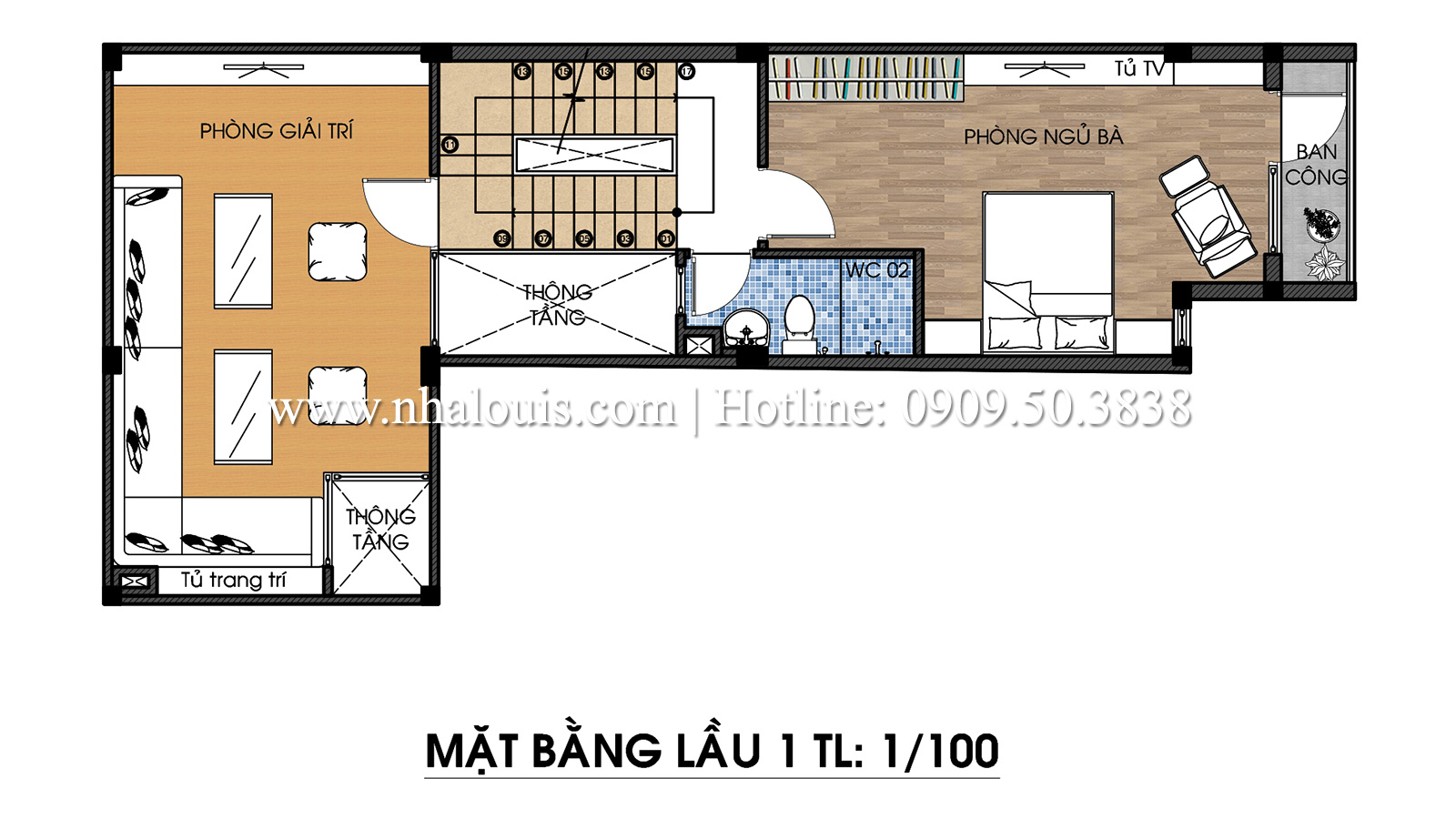 Mặt bằng tầng 1 Mẫu thiết kế nhà phố 5 tầng tại Tân Bình với không gian thiên nhiên xanh mát - 13