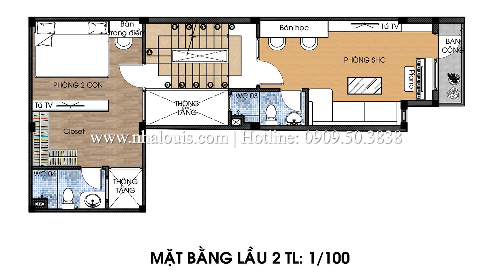 Mặt bằng tầng 2 Mẫu thiết kế nhà phố 5 tầng tại Tân Bình với không gian thiên nhiên xanh mát - 14