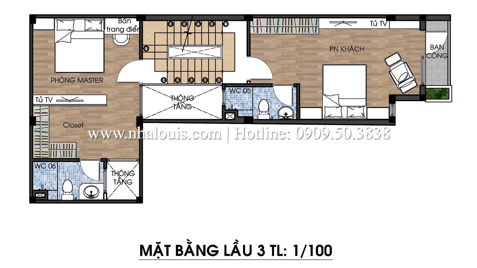 Mặt bằng tầng 3 Mẫu thiết kế nhà phố 5 tầng tại Tân Bình với không gian thiên nhiên xanh mát - 15