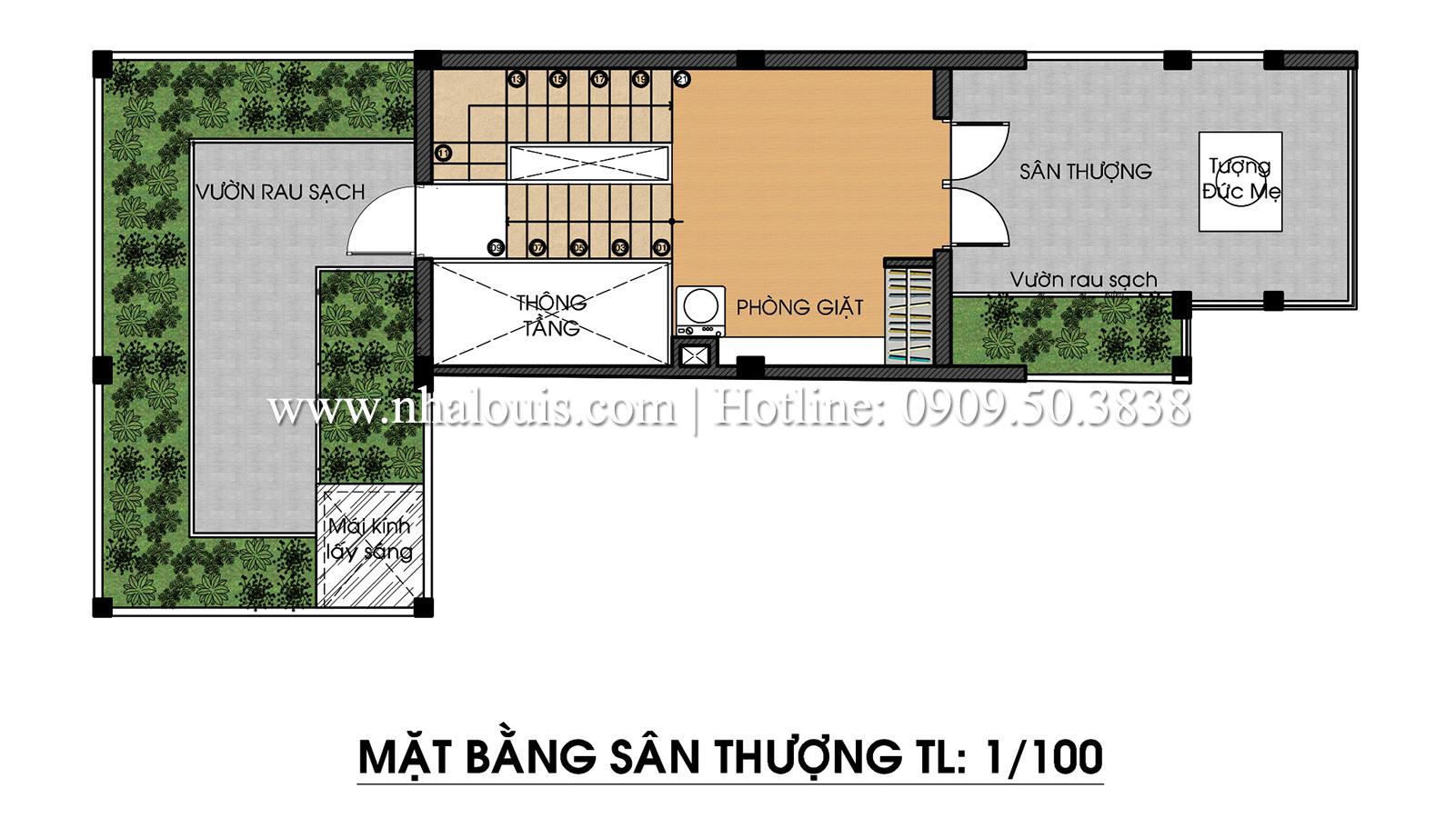 Mặt bằng sân thượng Mẫu thiết kế nhà phố 5 tầng tại Tân Bình với không gian thiên nhiên xanh mát - 16