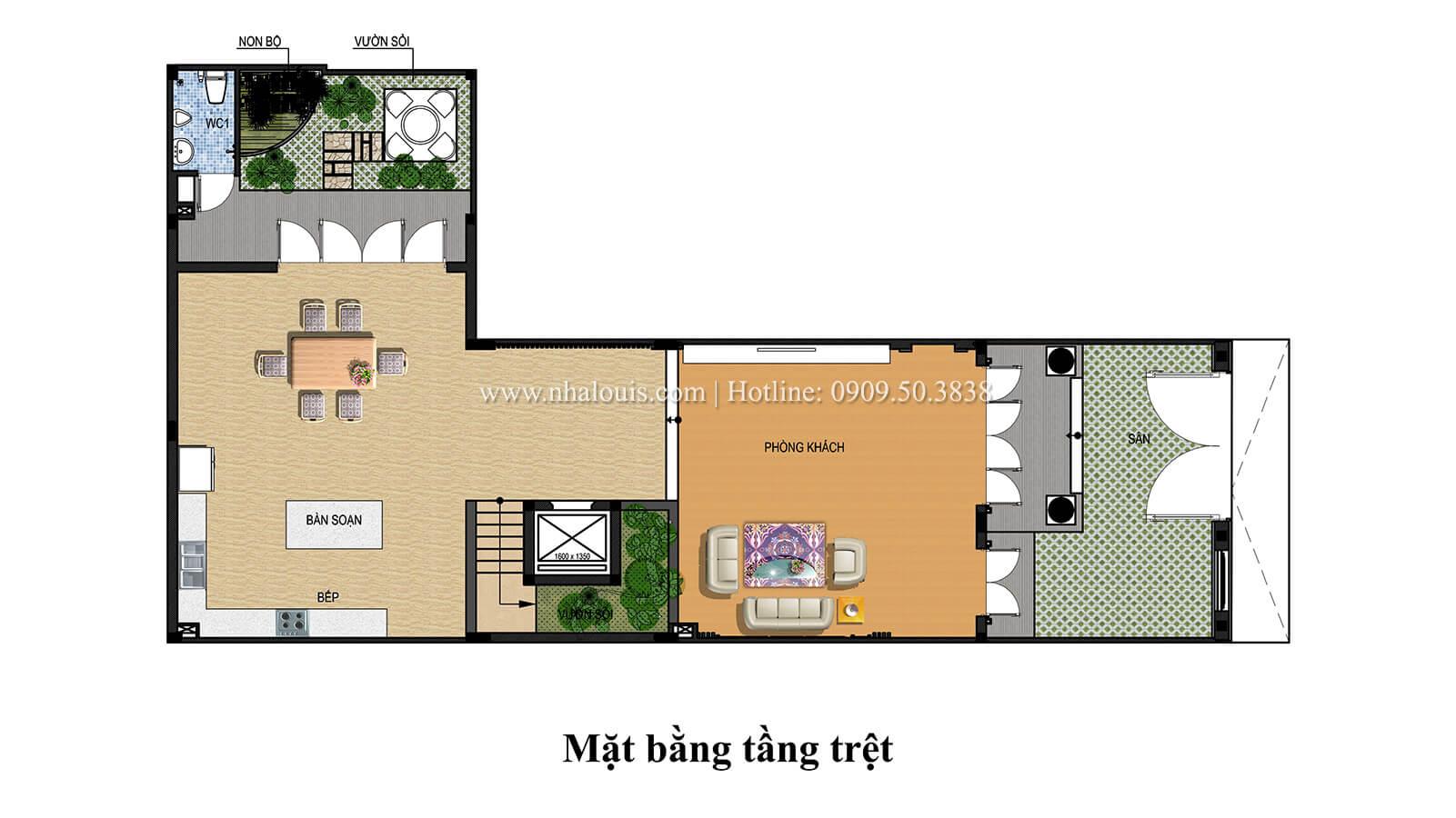 Mặt bằng tầng trệt Mẫu nhà phố bán cổ điển với mái Thái độc đáo tại Tân Bình - 26