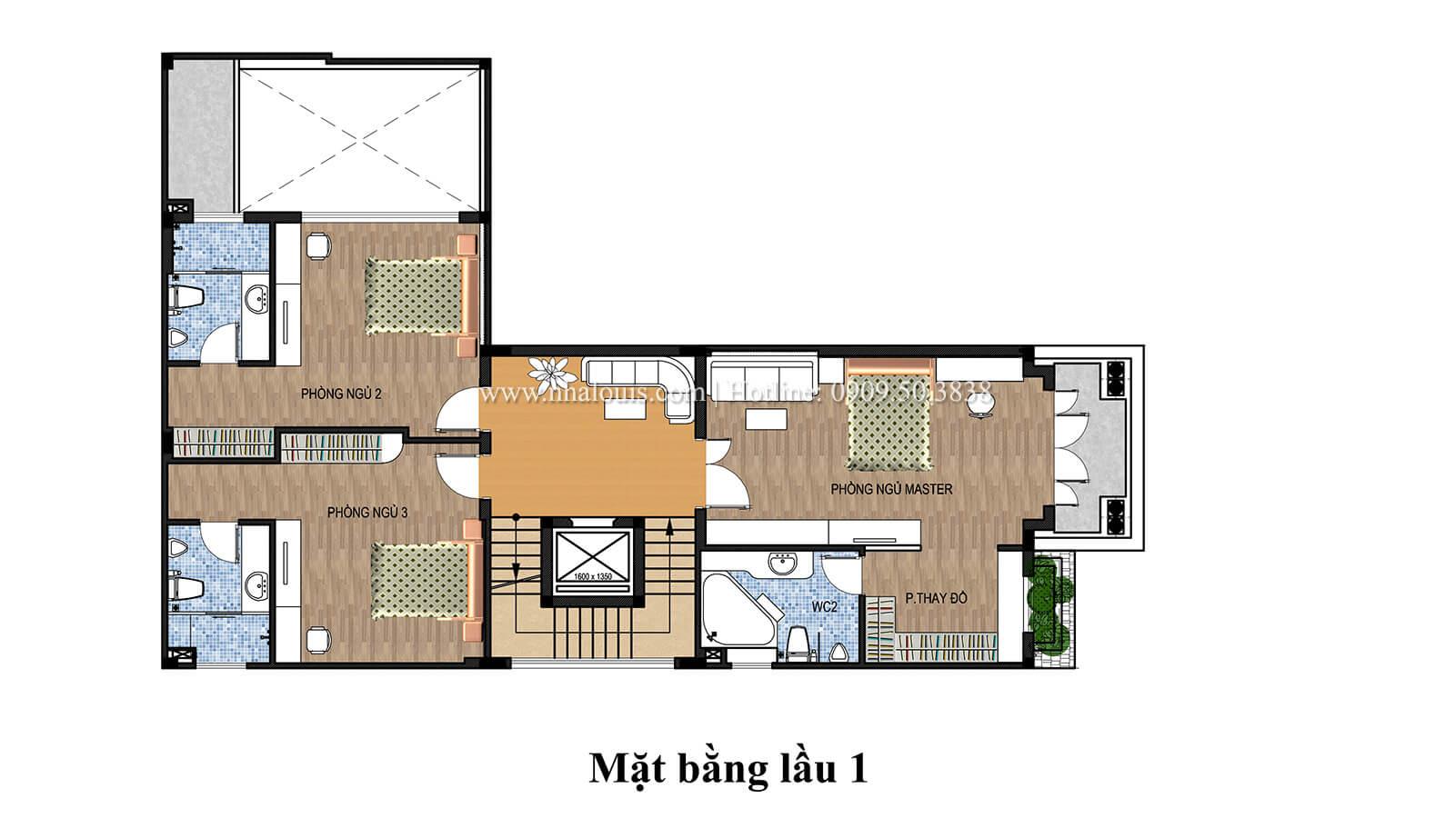 Mặt bằng tầng 1 Mẫu nhà phố bán cổ điển với mái Thái độc đáo tại Tân Bình - 27