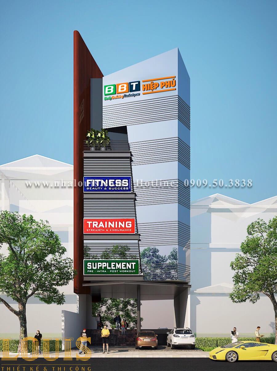 Mặt tiền Mẫu thiết kế phòng gym chuẩn hiện đại tại Quận 9 - 01
