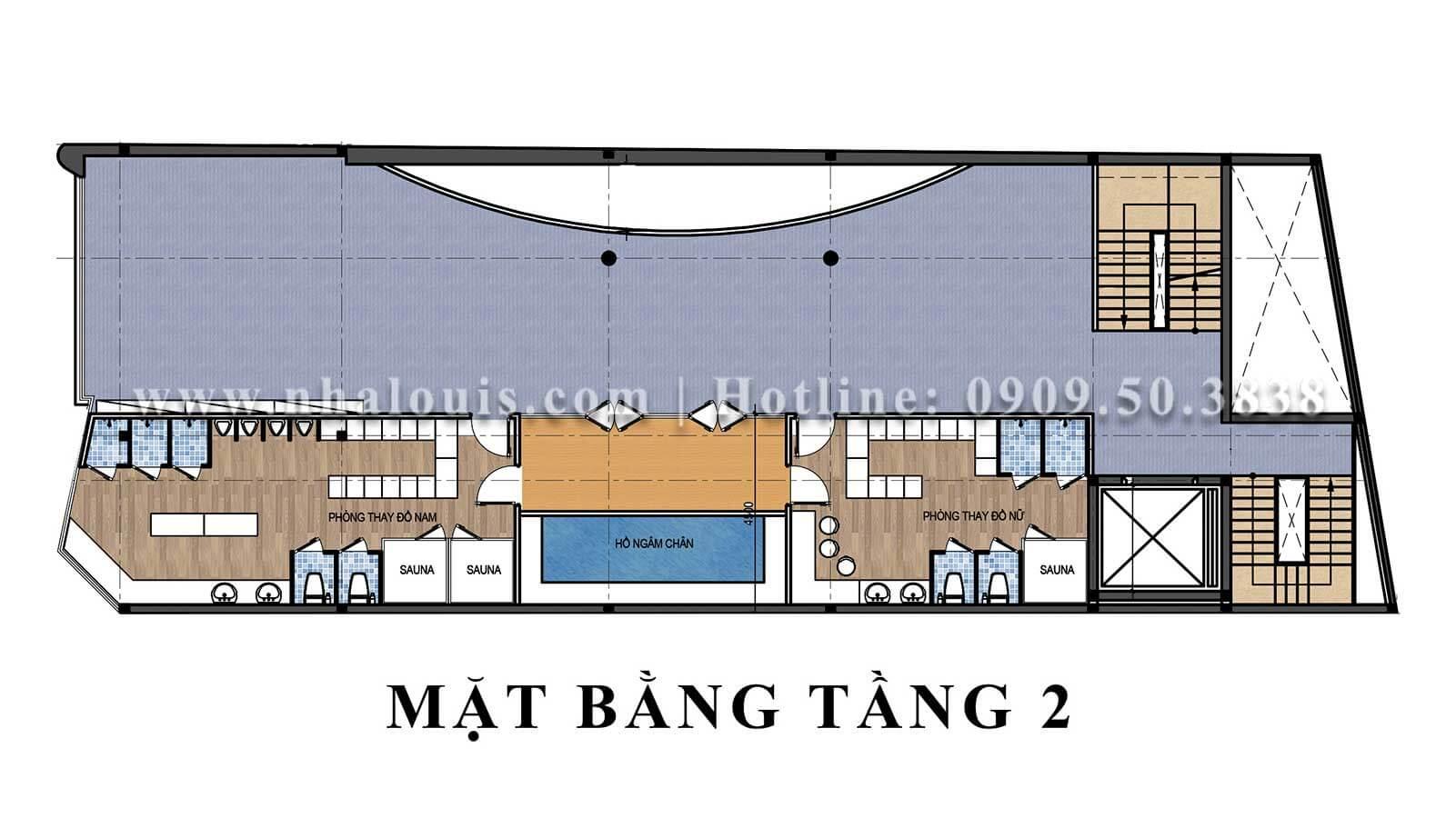 Mặt bằng tầng 2 Mẫu thiết kế phòng gym chuẩn hiện đại tại Quận 9 - 07
