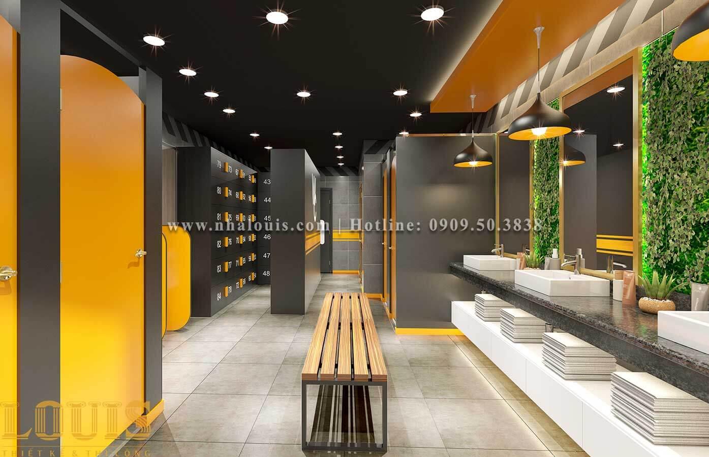 WC + Phòng tắm nam Mẫu thiết kế phòng gym chuẩn hiện đại tại Quận 9 - 09