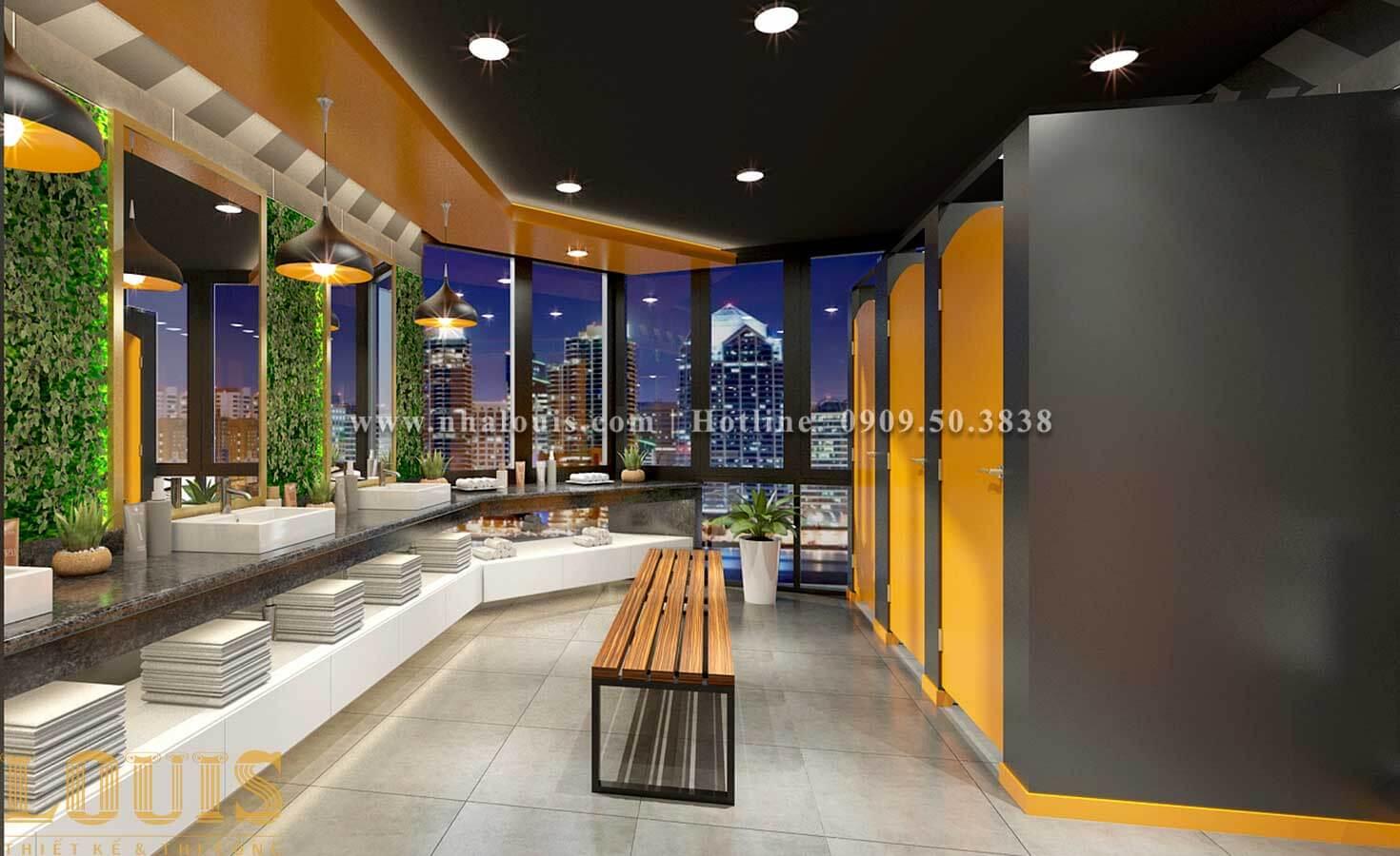 WC + Phòng tắm nam Mẫu thiết kế phòng gym chuẩn hiện đại tại Quận 9 - 11