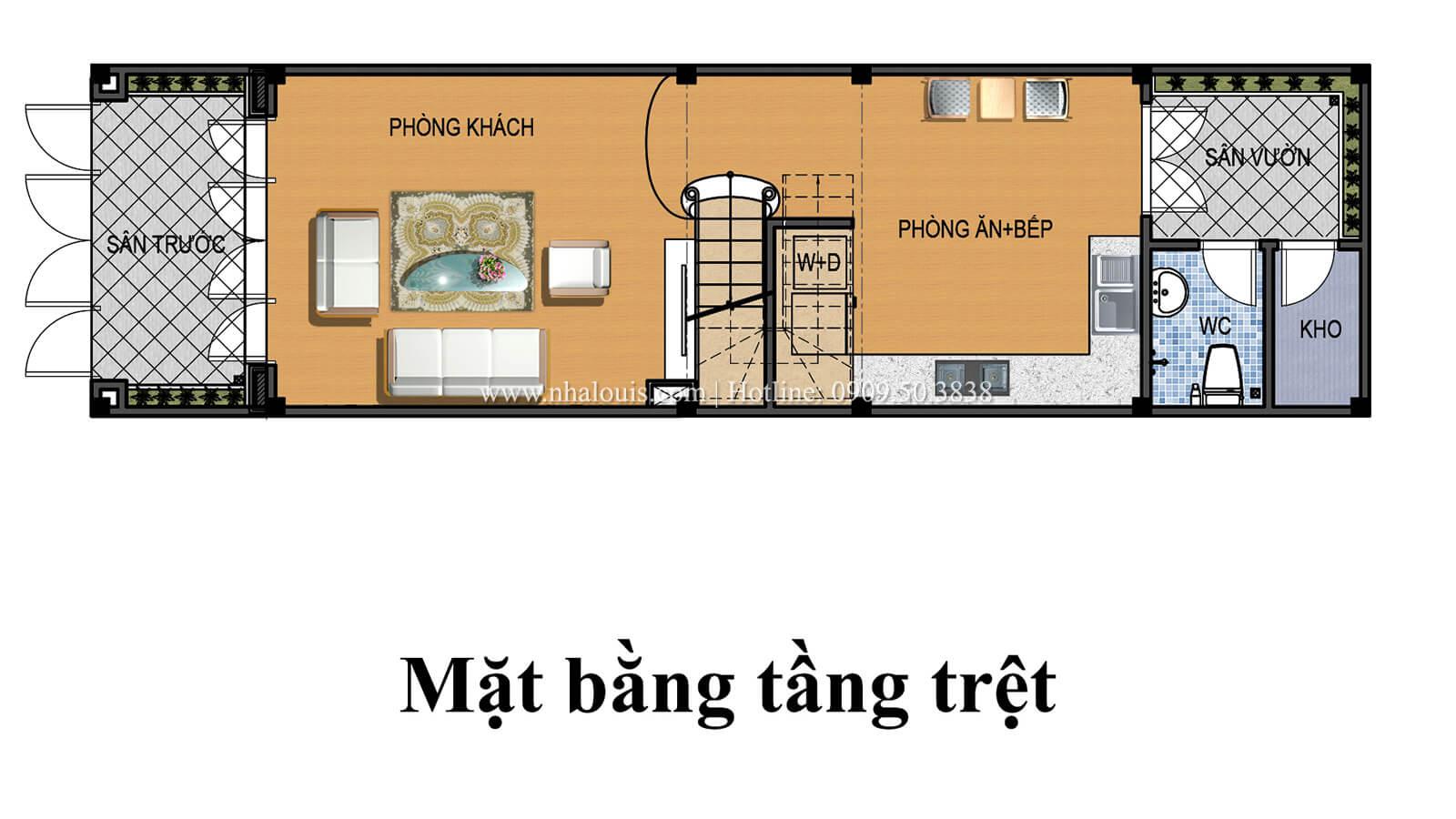 Mặt bằng tầng trệt Nhà 4×15 tại Gò Vấp đẹp kiêu sa với phong cách tân cổ điển - 04