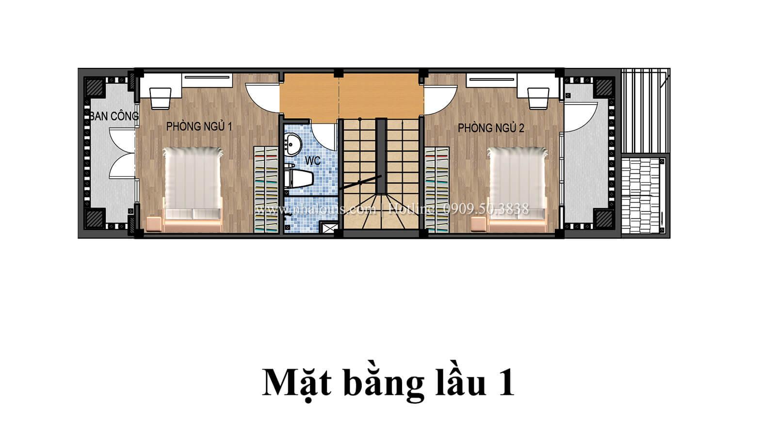Mặt bằng tầng 1 Nhà 4×15 tại Gò Vấp đẹp kiêu sa với phong cách tân cổ điển - 05