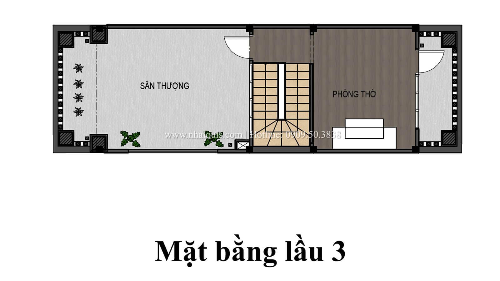 Mặt bằng tầng 3 Nhà 4×15 tại Gò Vấp đẹp kiêu sa với phong cách tân cổ điển - 07