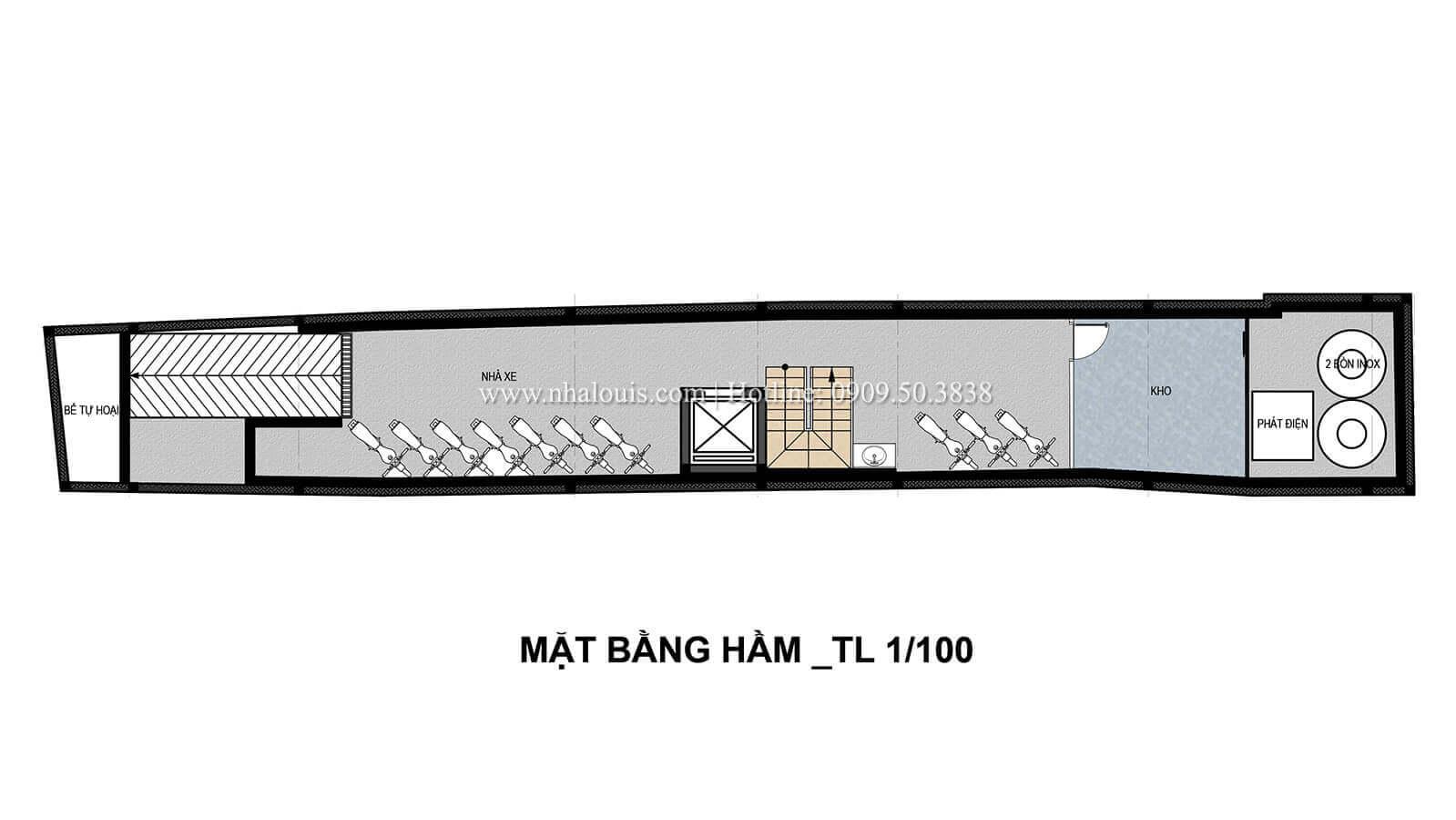 Mặt bằng tầng hầmNhà ống mặt tiền 4m hiện đại và thanh tao tại Bình Thạnh - 09