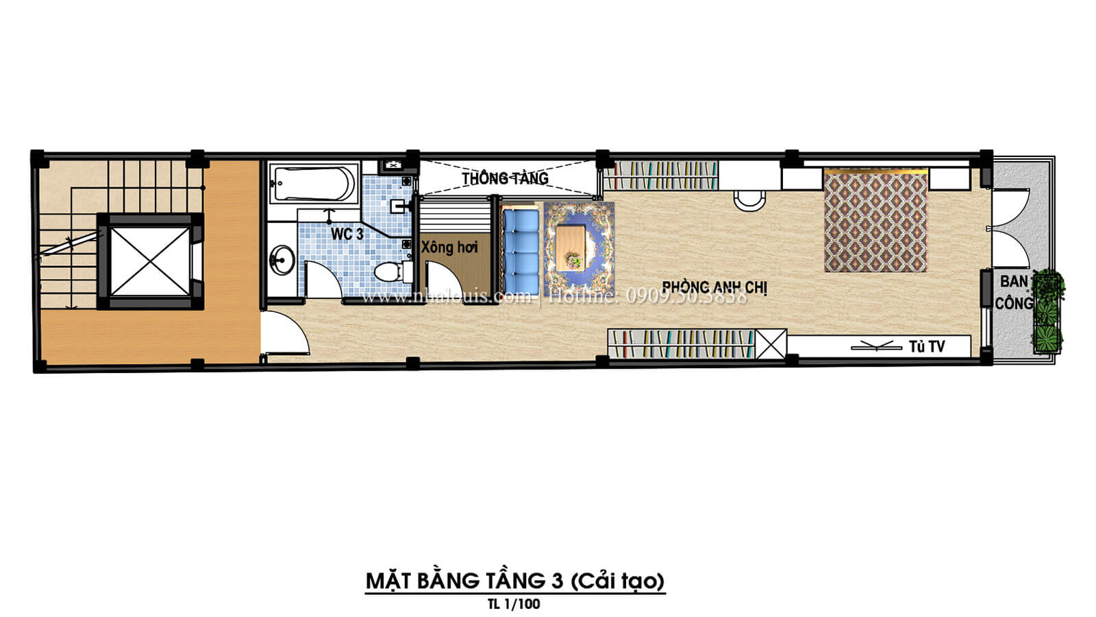 Mặt bằng tầng 3 Thiết kế cải tạo nhà 6 tầng đẹp không ngờ tại Quận 6 - 07