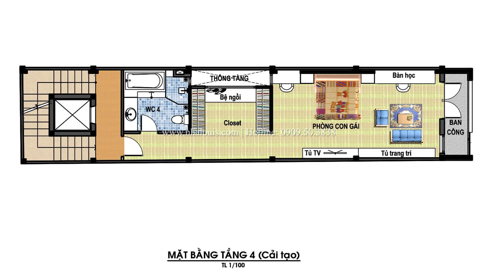 Mặt bằng tầng 4 Thiết kế cải tạo nhà 6 tầng đẹp không ngờ tại Quận 6 - 08