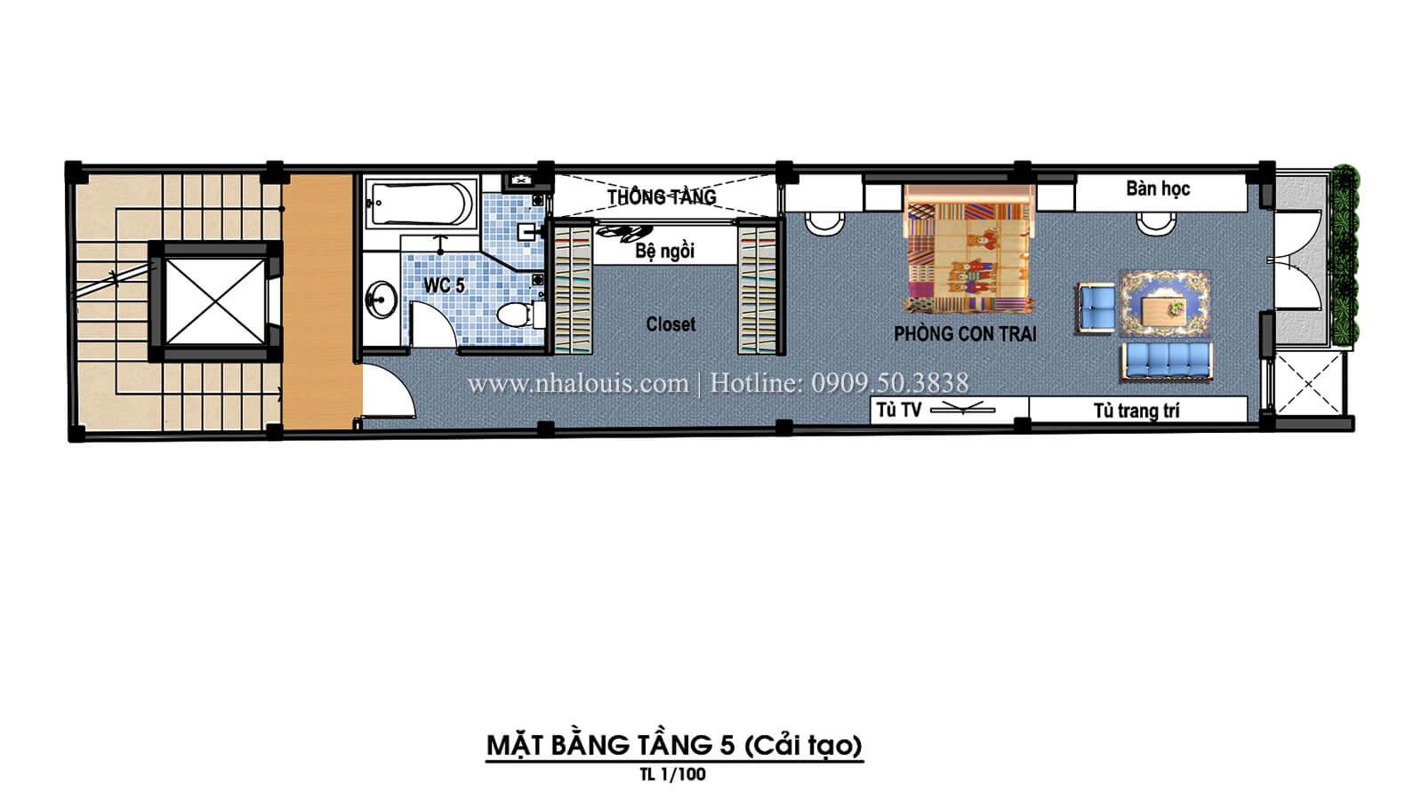 Mặt bằng tầng 5 Thiết kế cải tạo nhà 6 tầng đẹp không ngờ tại Quận 6 - 09
